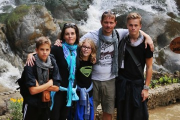 Vífill Harðarson (to the far right) has traveled all around the world with his family. This picture was taken when they were in Vietnam last year.
