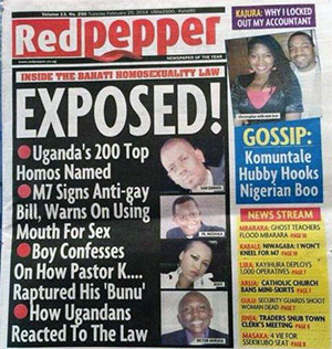 "A media witch-hunt: Uganda's top ""200 top homosexuals"" named in a tabloid, a day after President Yoweri Museveni signed into law a bill toughening penalties for gay people."