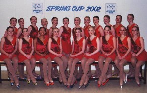 Sigrún (third from left top row) with her skating team.