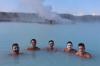 At the Blue Lagoon, from left: OUT editors Matthew Breen, Brandon Presser, Julien Sauvalle, Jerry Portwood, and R. Kurt Osenlund.