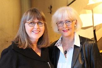 Happy couple: Ex-prime minister Jóhanna Sigurðardóttir and writer Jónína Leósdóttir at the Out party.