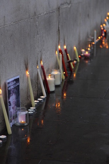 Candles placed against a wall following the Trafalgar Square vigil in memory of Leelah Alcorn.