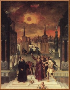 Astronomers have been studying eclipses for ages, here depicted in a painting by Antoine Caron in 1571.