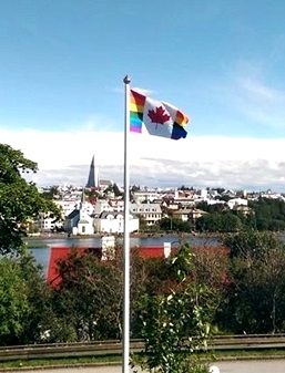 CanadianPride flag at Canadian residence in Reykjavik.