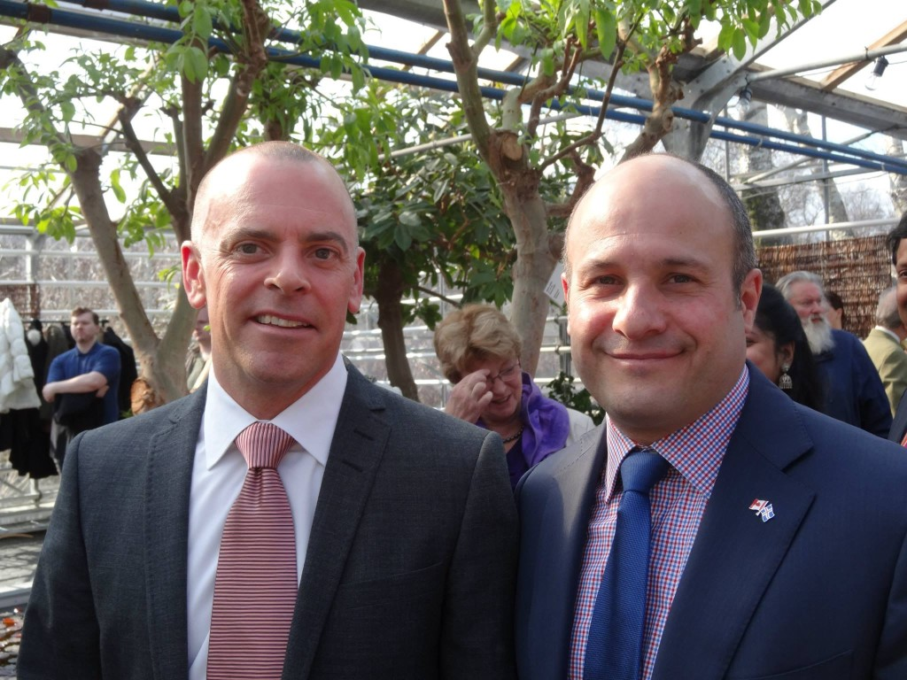 Stewart and Brian at the Faroese Flag Day reception, in Reykjavík.