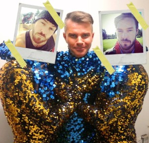 Photoshopping himself on photographs with Páll Óskar.