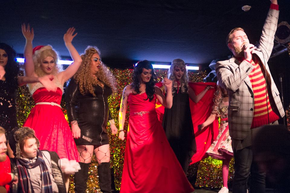 Taking the stage as Ina Vagina (in the middle) alongside fellow performers of the drag-cabaret Drag-Súgur, that has become a hit.