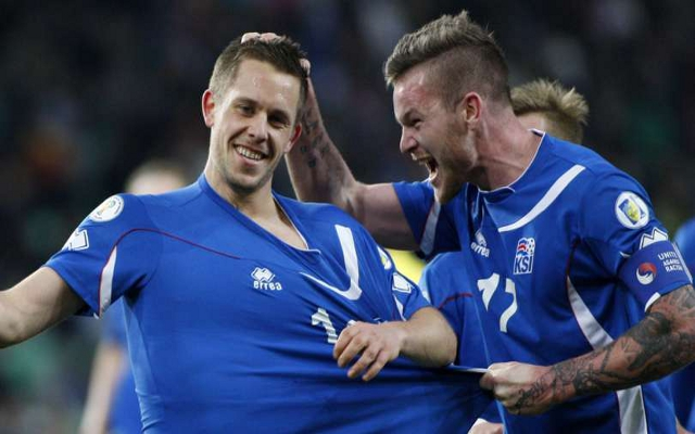Val supported the Icelandic men's team in UEFA's Euro 2016 by adopting an Icelandic patronymic surname on game days; the success of the team's debut performance in an international tournament caught the attention of the football world and its win over England was exceptionally sweet for Scots. Photo: A screenshot of players Gylfi Sigurðsson and Aron Einar Gunnarsson.